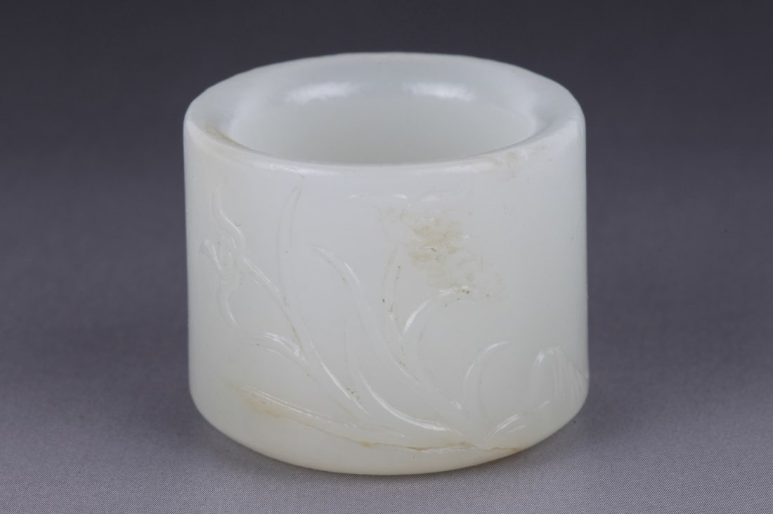 18th C. Chinese Jade Thumb Ring w/ Russet