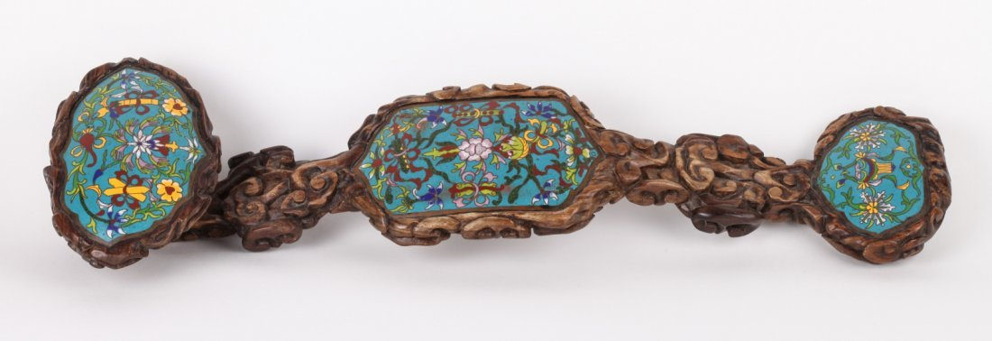 CH Boxwood Ruyi Scepter Inlaid Cloisonne Plaques
