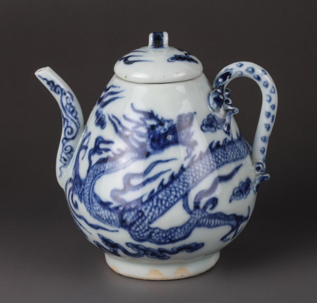 Early Ming Blue & White Wire Ewer and Cover