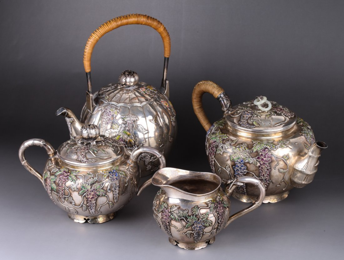 19th C. Japanese Sterling Silver Tea Pot