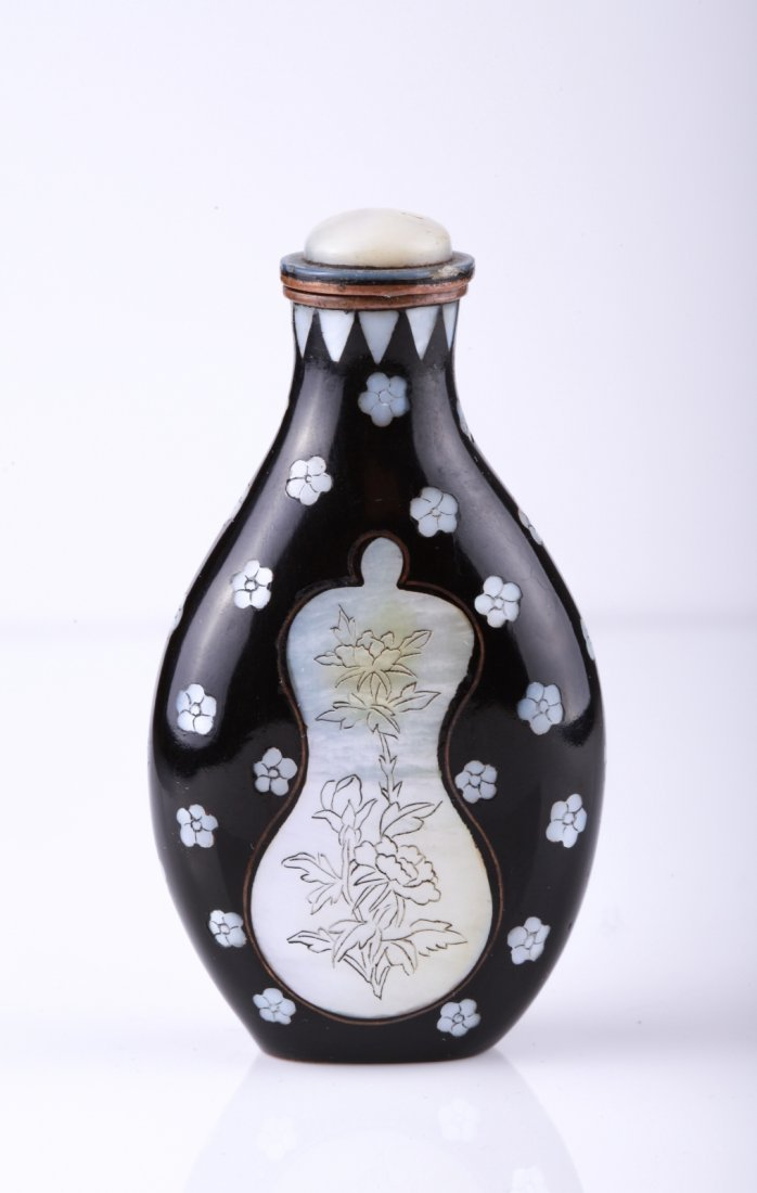 19th C. Enamel Snuff Bottle Inlaid Mother of Pearl