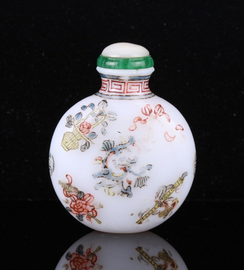 18th C. Chinese Enameled White Glass Snuff Bottle