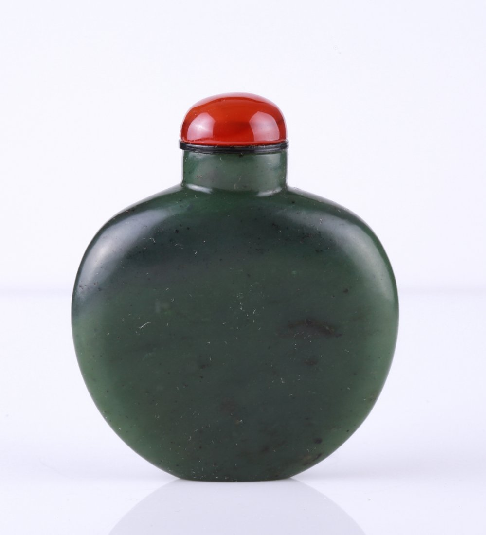 18th C. Chinese Spinach Jade Snuff Bottle