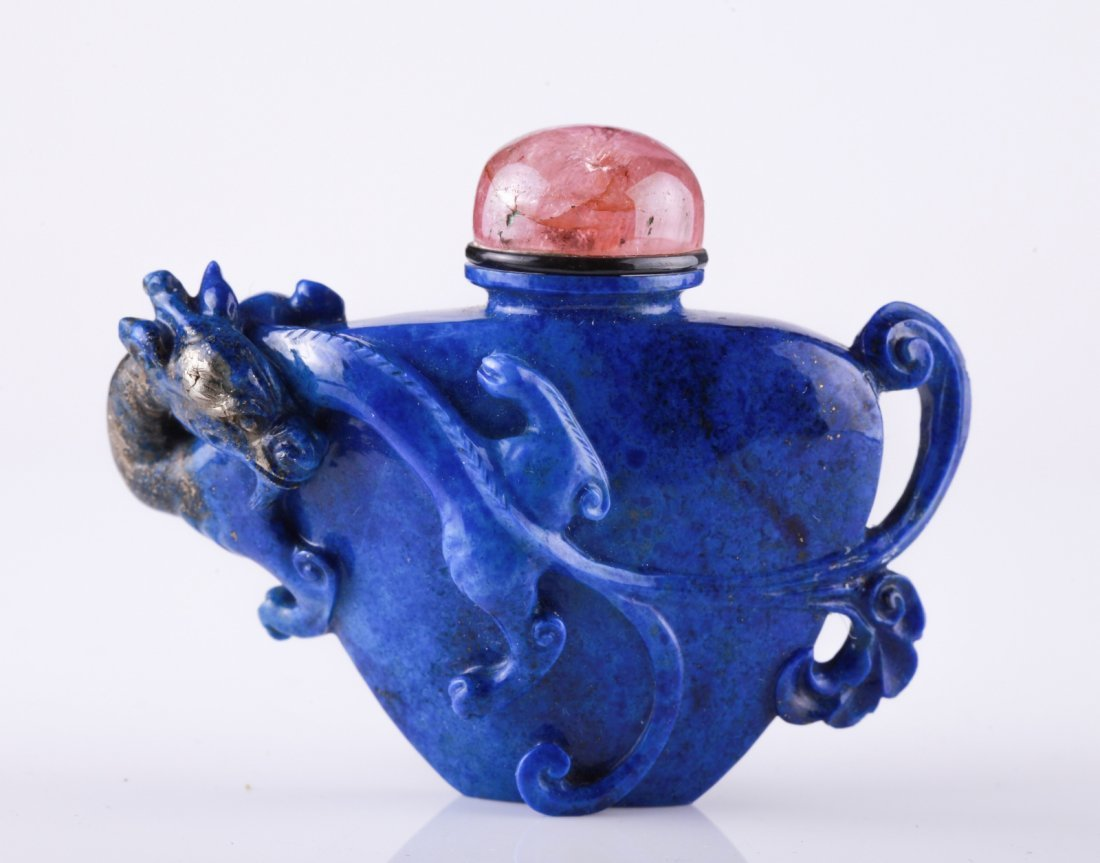 18th C. Chinese Lapis Carved Snuff Bottle