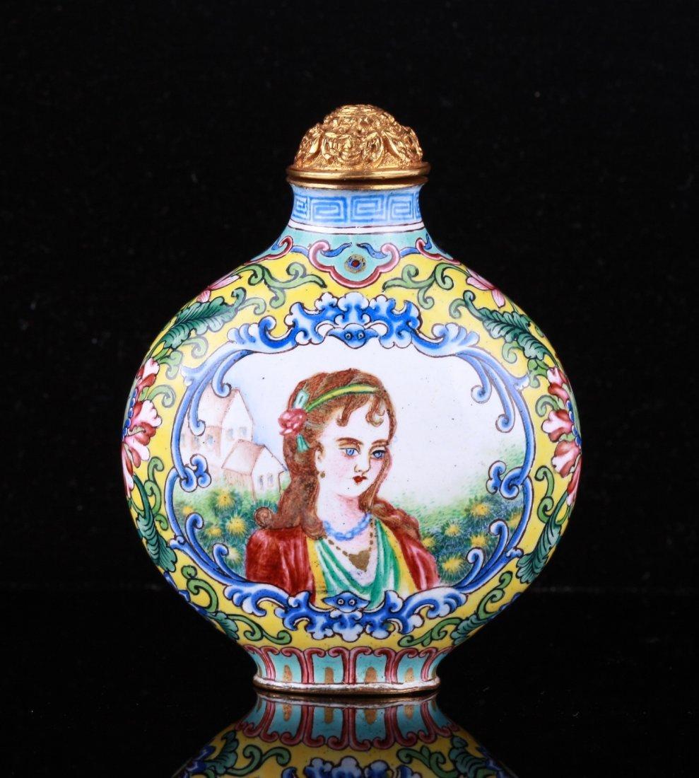 19th C. Chinese Enamel Western Figure Snuff Bottle
