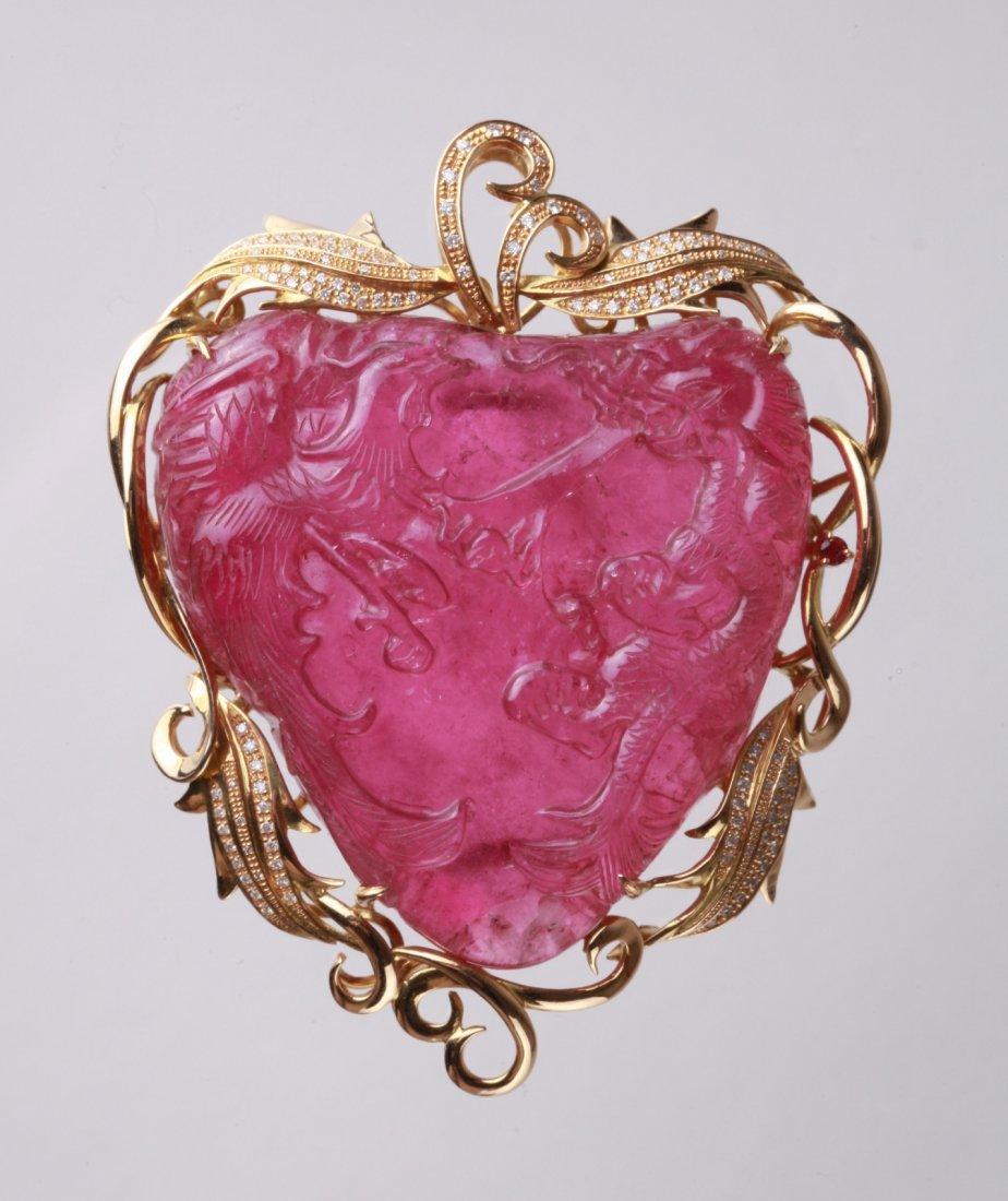 Qing Dynasty Bixi Pendant w/ 18K and Diamond