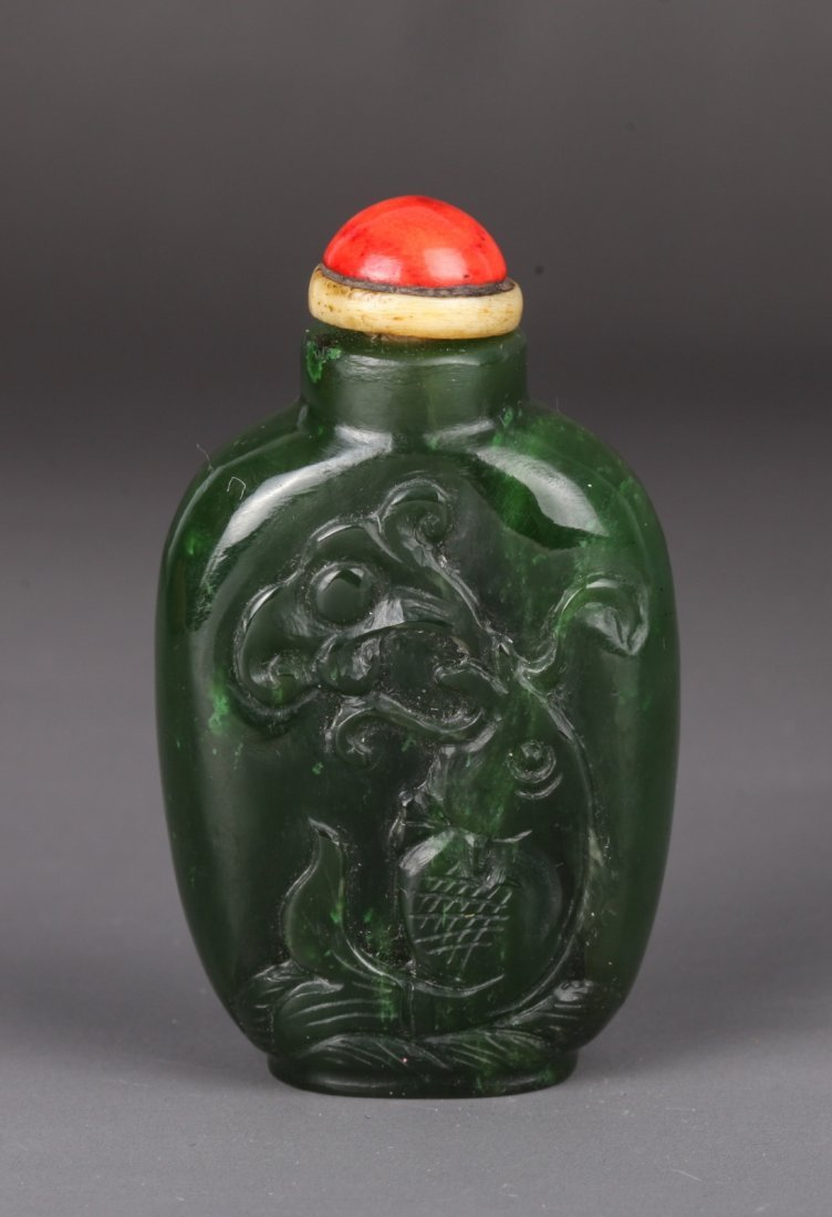 20th Century Chinese Spinach Jade Snuff Bottle
