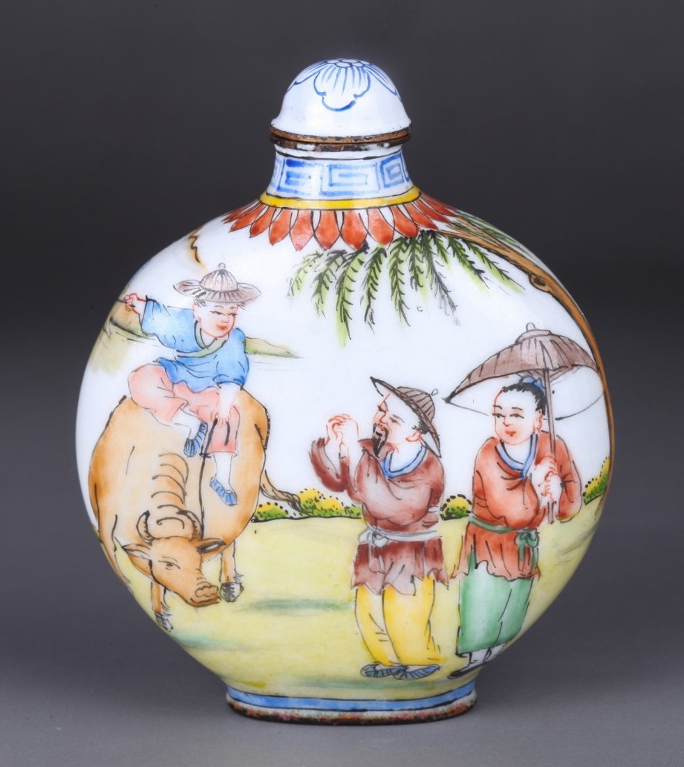 19th Century Chinese Bronze Enameled Snuff Bottle