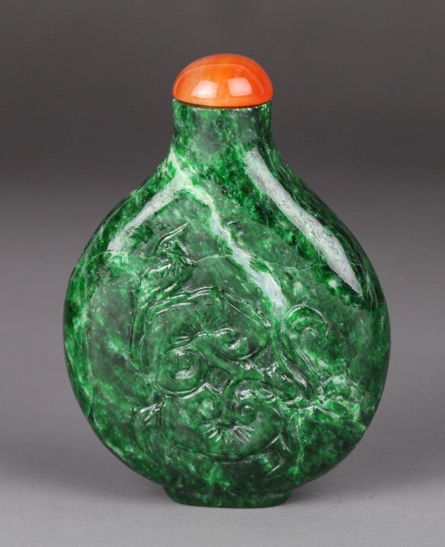 19th C. Chinese Spinach Jadeite Snuff Bottle