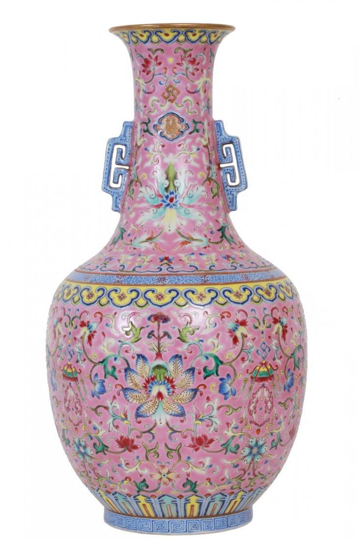 CH Famille Rose Pink Ground Lotus Scrolling Vase