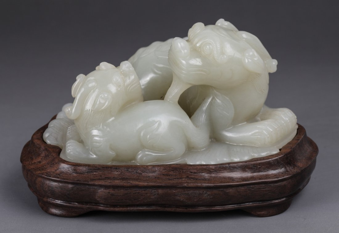 19th C. Chinese Carved Lions with Some Russet