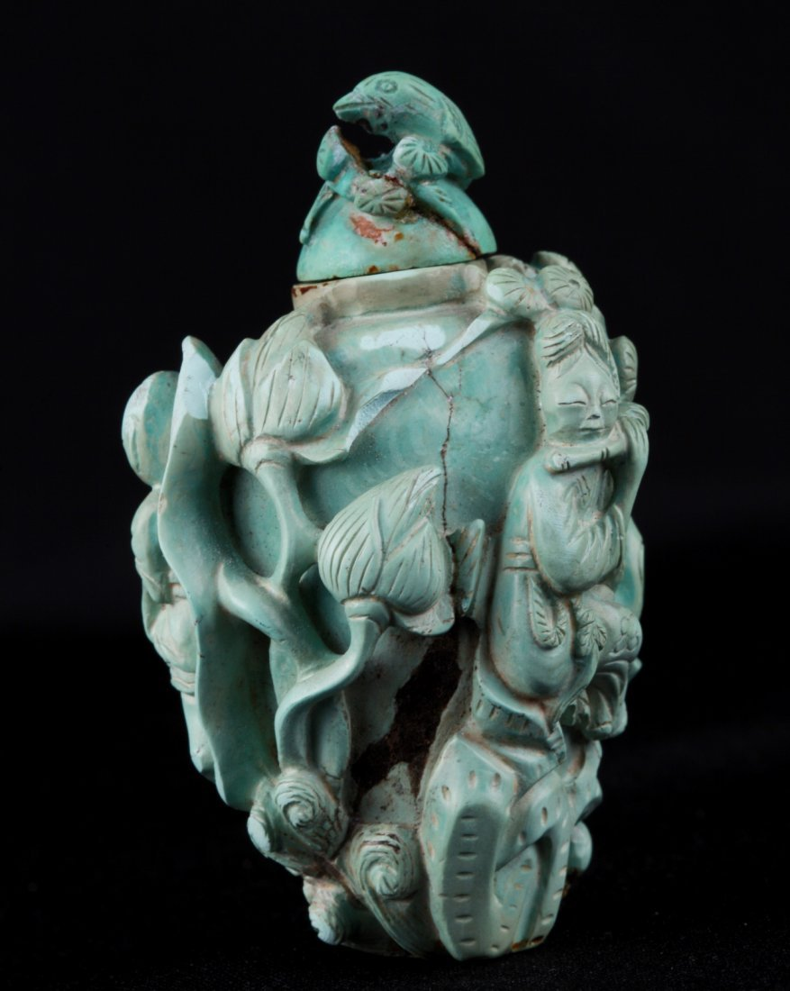19th C. Chinese Turquoise Carved Snuff Bottle