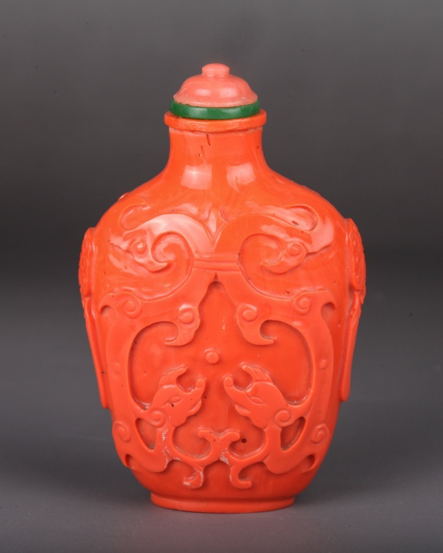 19th Century Chinese Imitated Coral Snuff Bottle