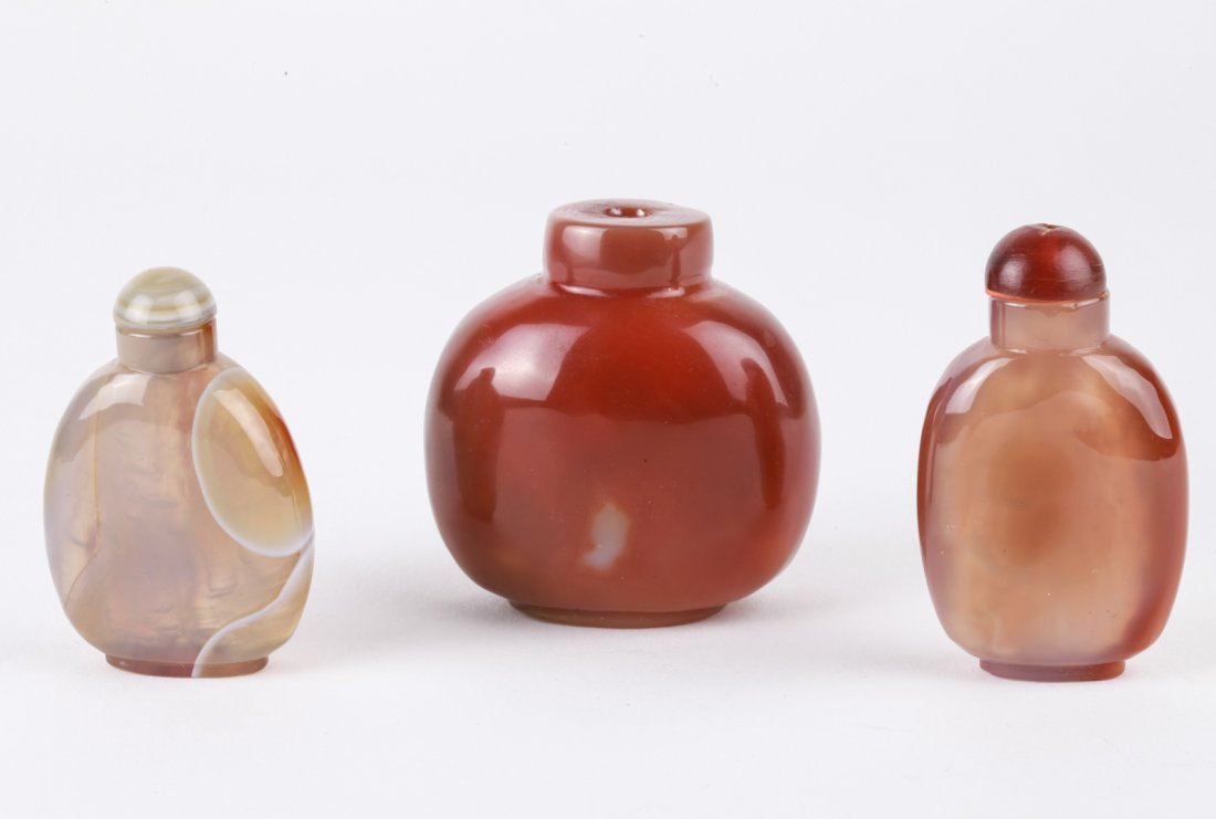 3 Pieces Chinese Agate Snuff Bottle