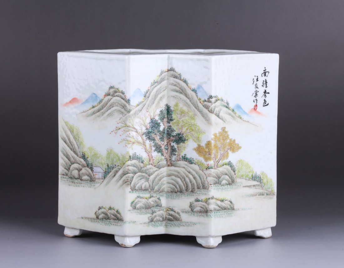 Chinese Painted Porcelain Double Square Brush Pot