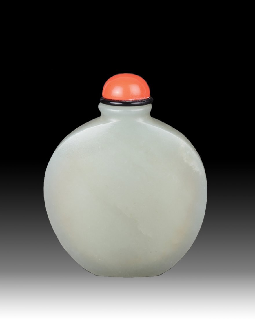 18/19th C. CH Jade Snuff Bottle with Coral Stopper