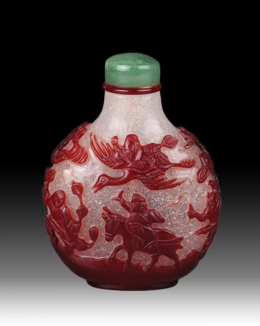 19th Century Chinese Red Overlay Snuff Bottle