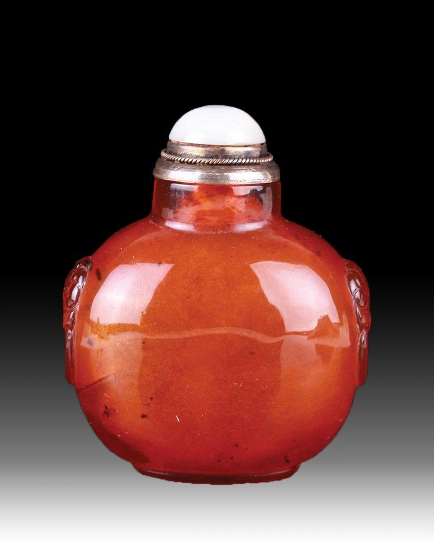 18th C. Golden Amber Snuff Bottle w/Twin Mask Ears