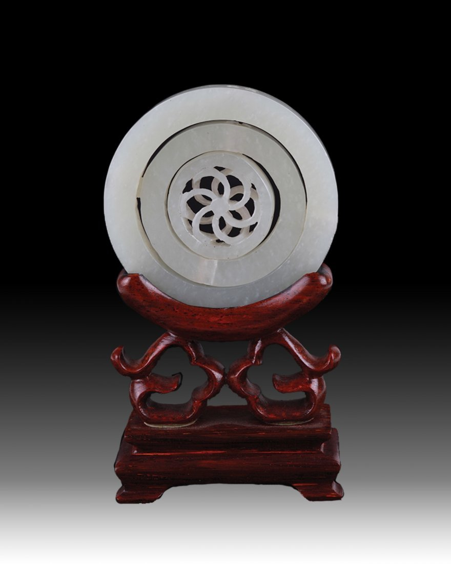 19th Chinese Jade Carved 3 Revolved Layers Plaques