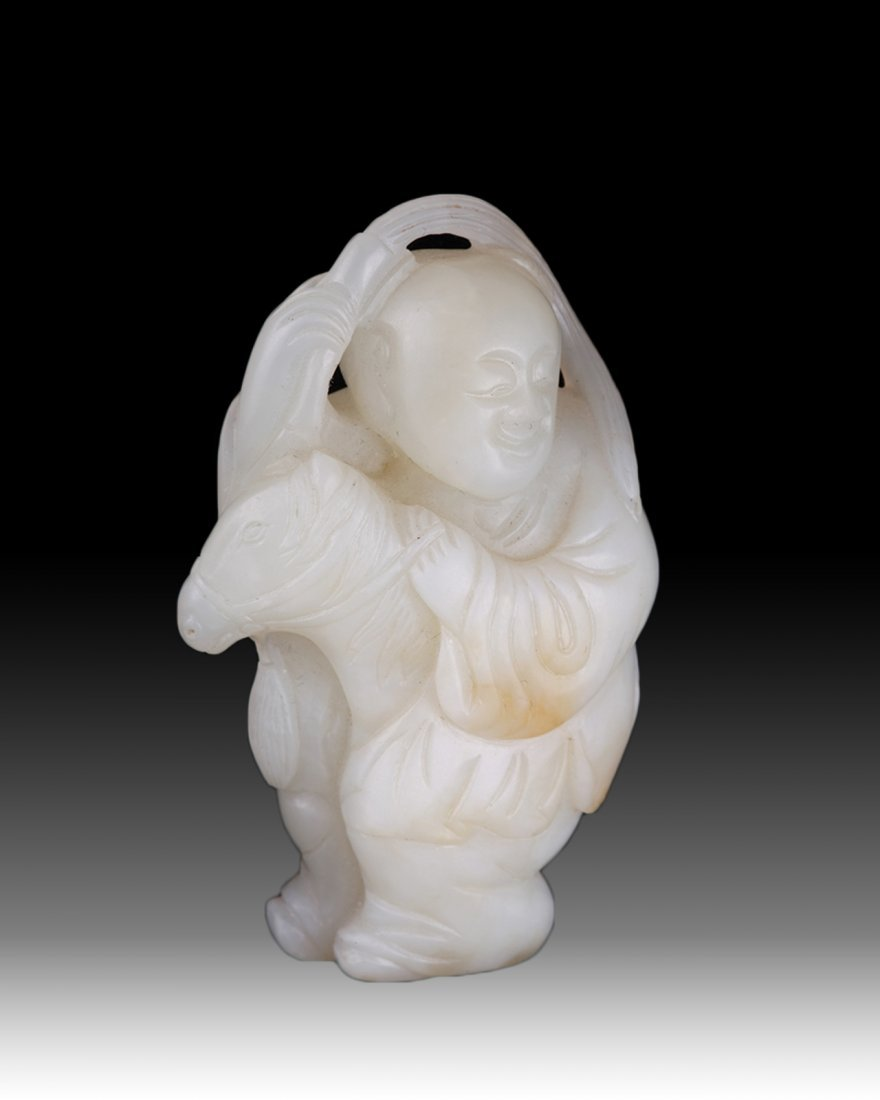 18th C. Chinese Jade Carved a Boy Ride Horse
