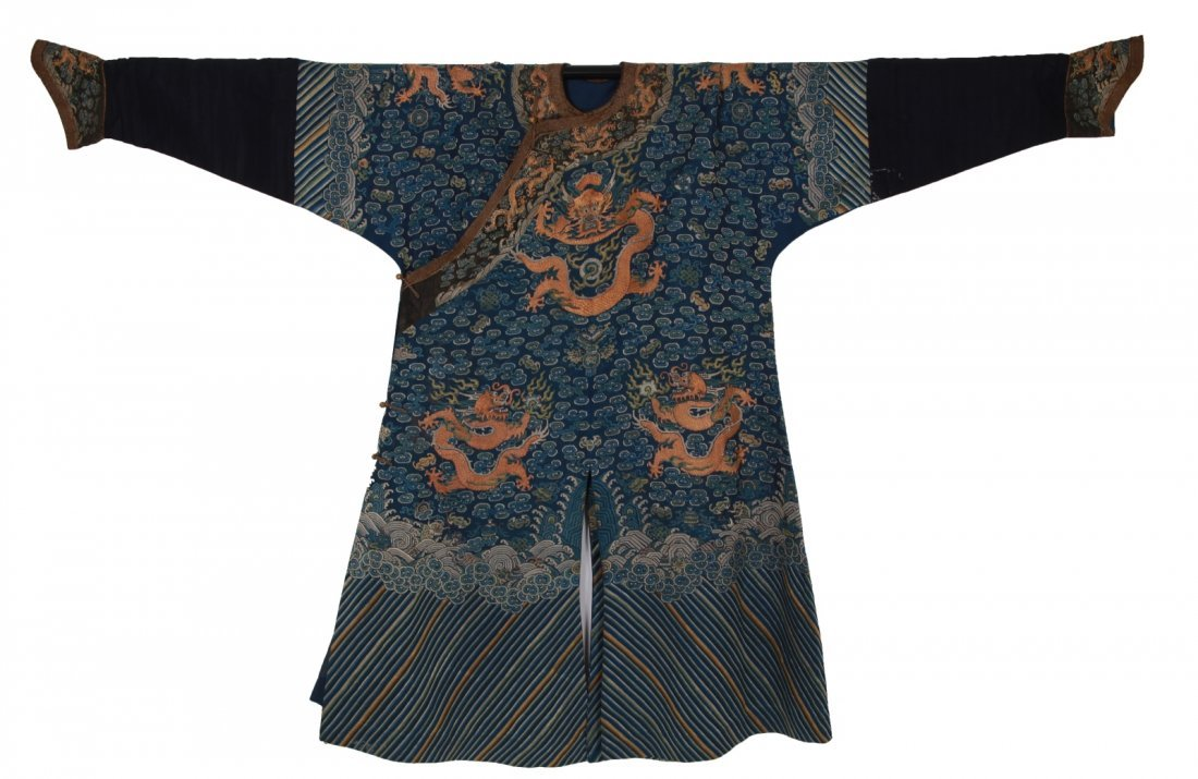 17/18th C. Chinese Nine Dragons Silk Emperor Robe