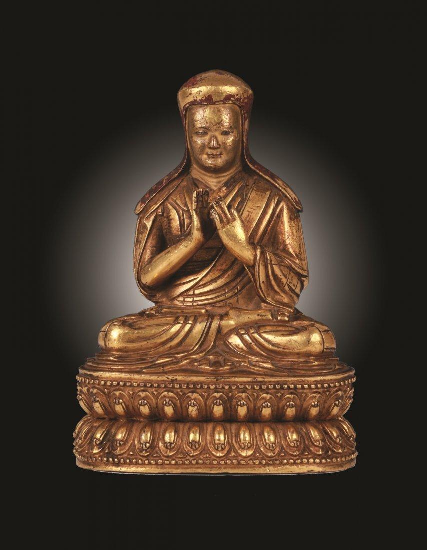Rare Ming Dynasty Gilt Bronze Figure of Buddha
