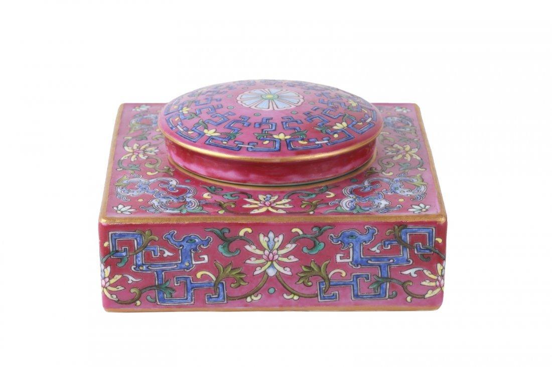 Qianlong Ruby-Enameled  Famille Rose Paste Box