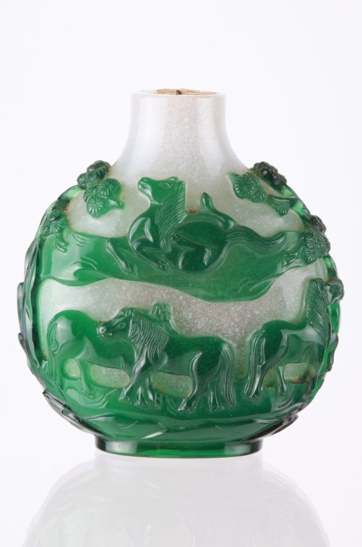 19th C. Chinese Green Over White Snuff Bottle