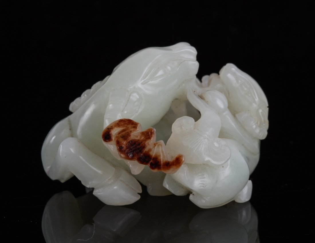 Chinese Jade Carved Two Rams with Russet