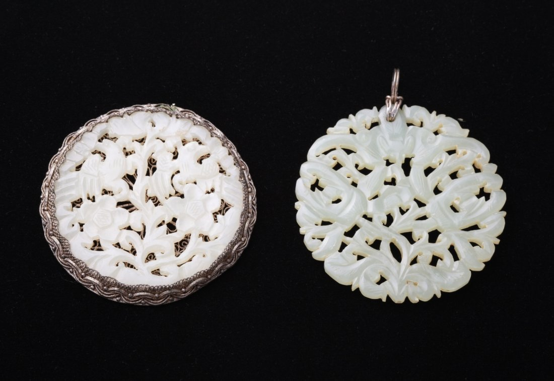 Two Pieces of Chinese Jade Round Plaques