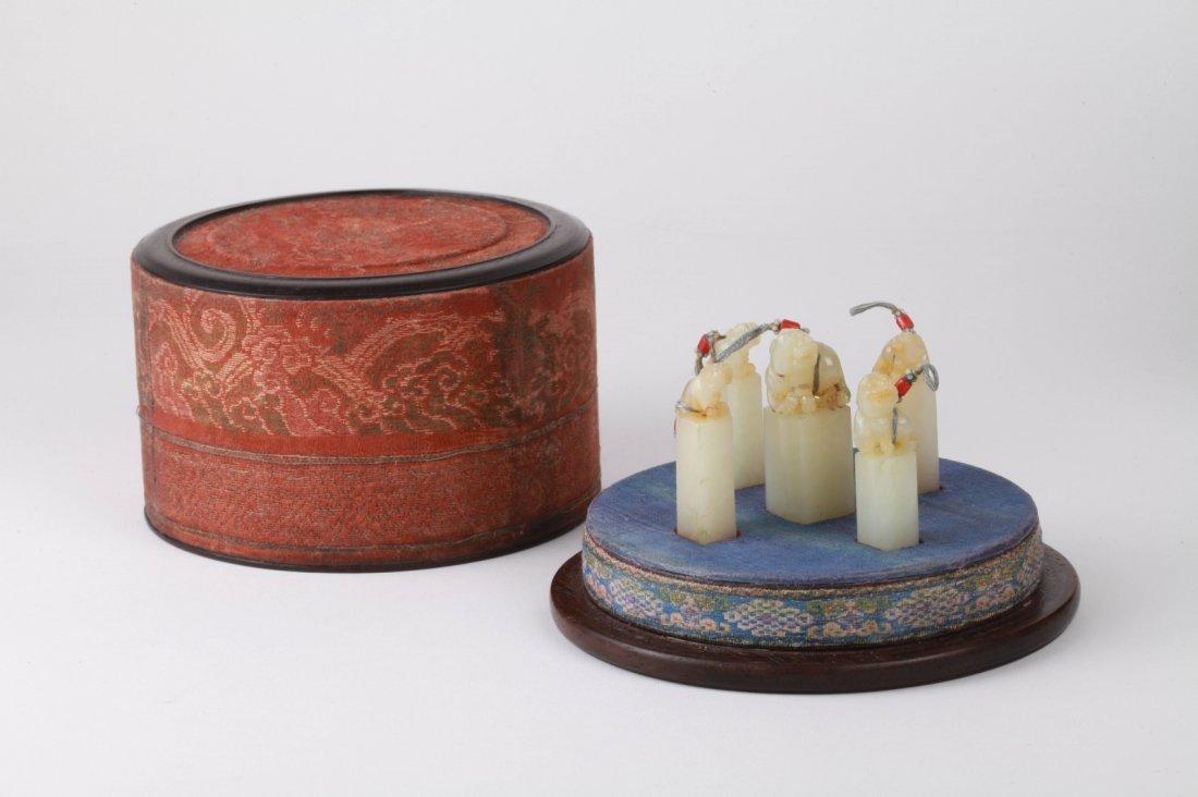 Rare 5 Pieces 19th C. Chinese Jade Seals w/ Box
