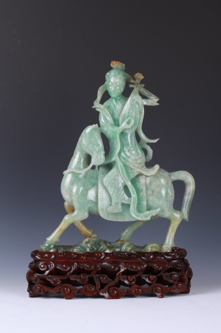 Chinese Jadeite Carved Guanyin on Horse w/ GIA