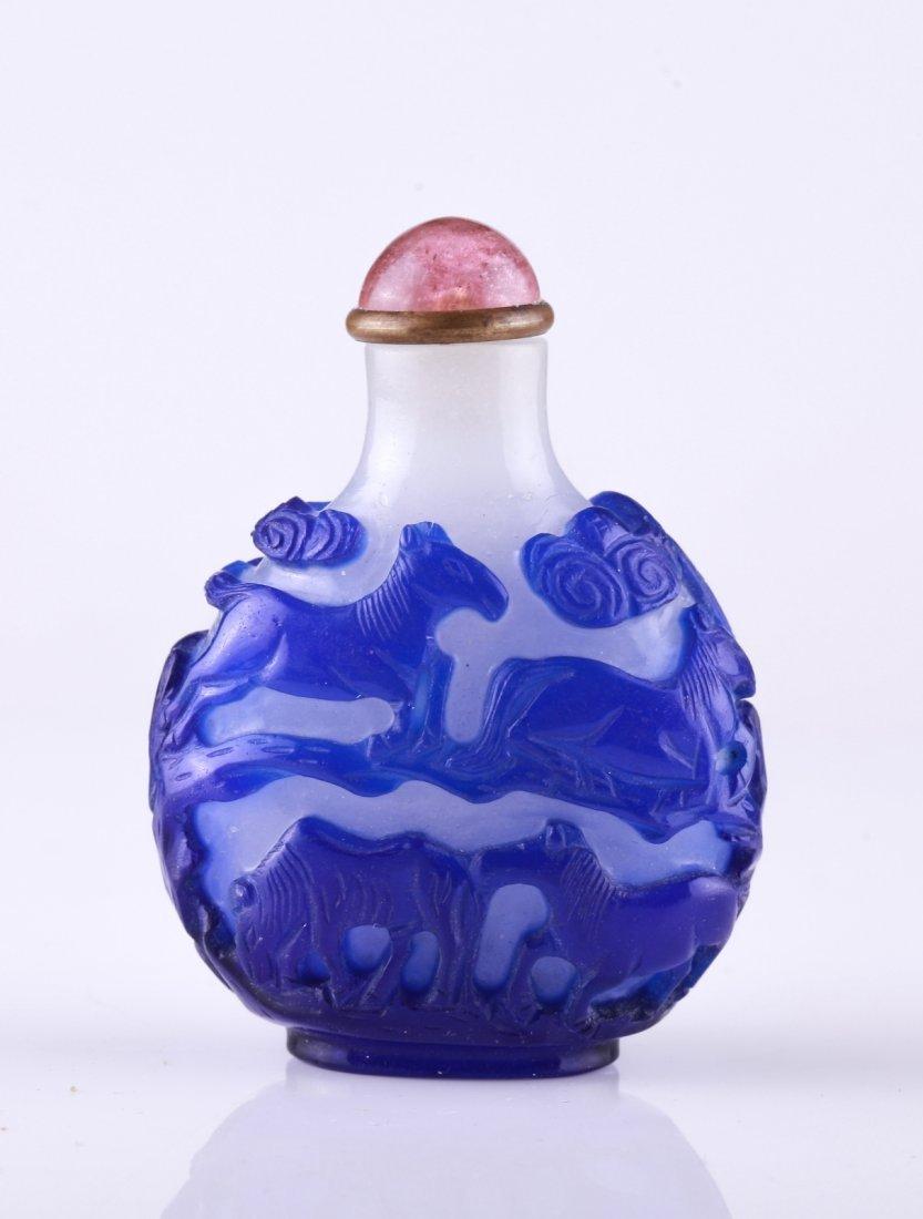 18th C. Blue Overlay Snow White Snuff Bottle