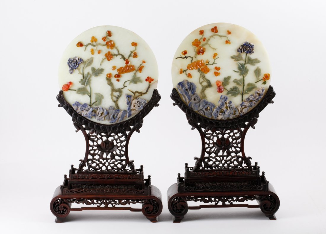 Pair of Chinese Jade Table Screens w/ Wood Stand