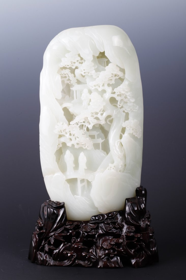 Chinese White Jade Mountain Boulder Scholar Design