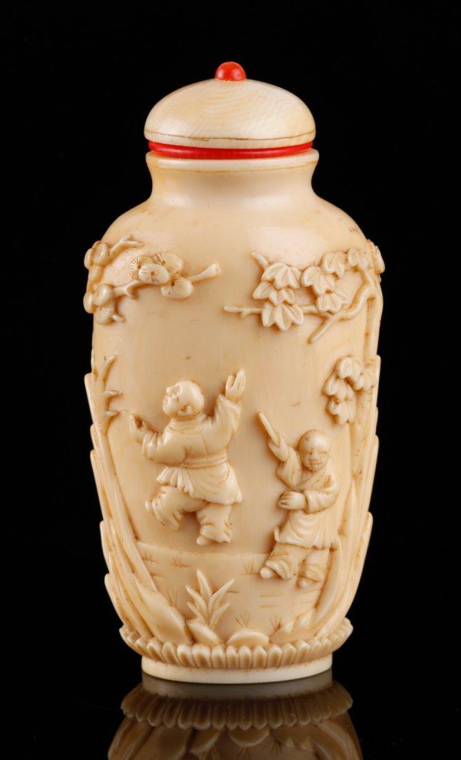 Chinese Elephant Bone Carved Snuff Bottle