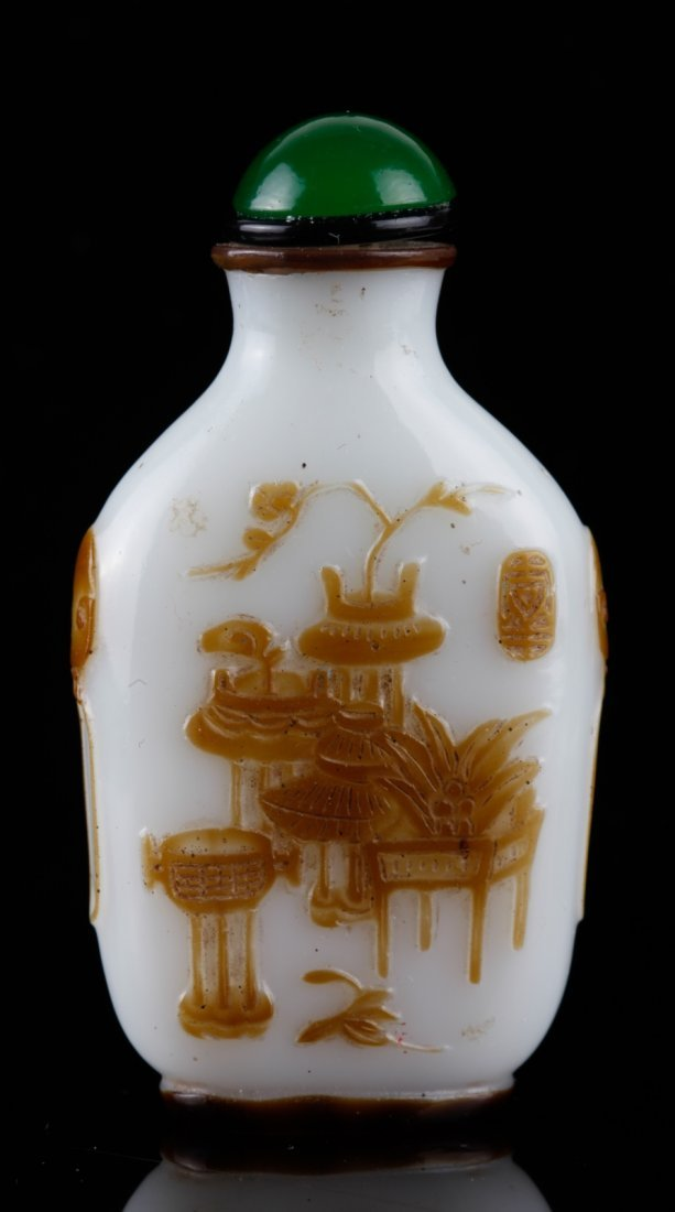 Chinese Brown Overlay White Glass Snuff Bottle