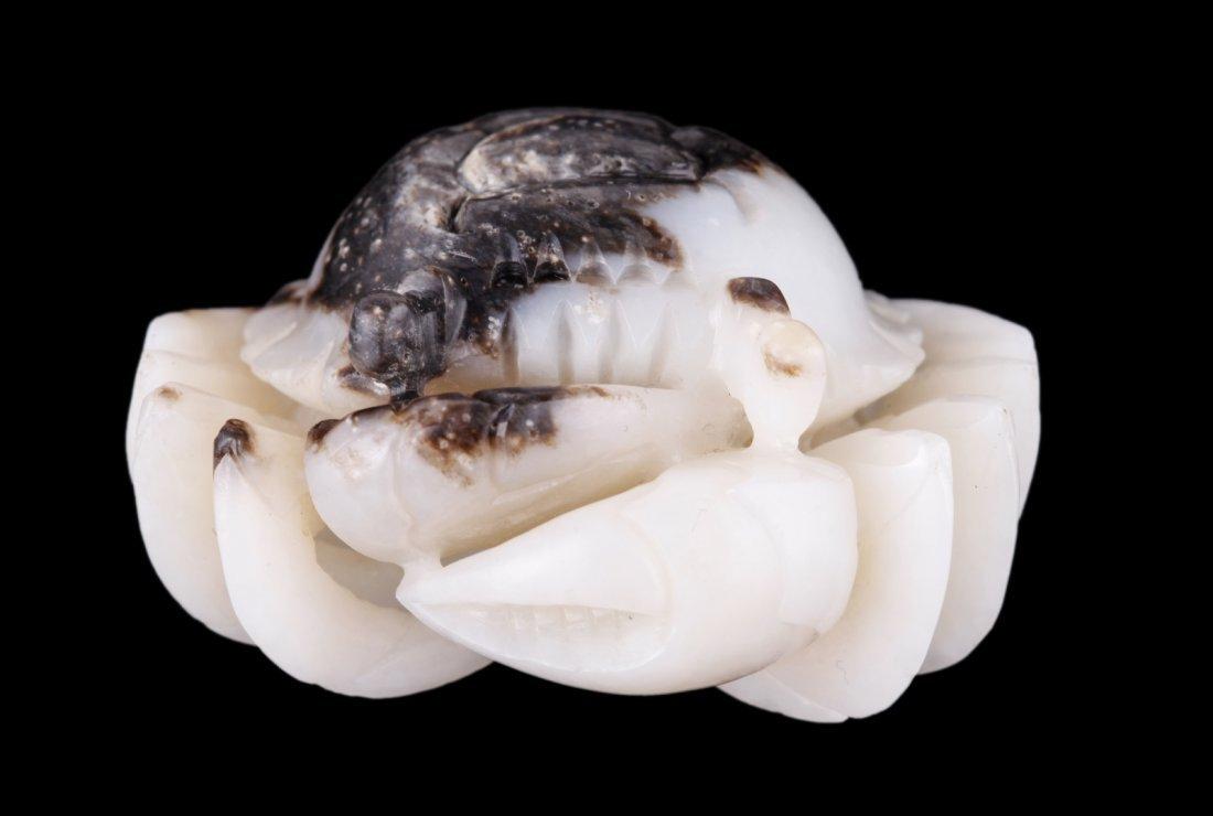 Chinese Black & White Jade Carved Crab