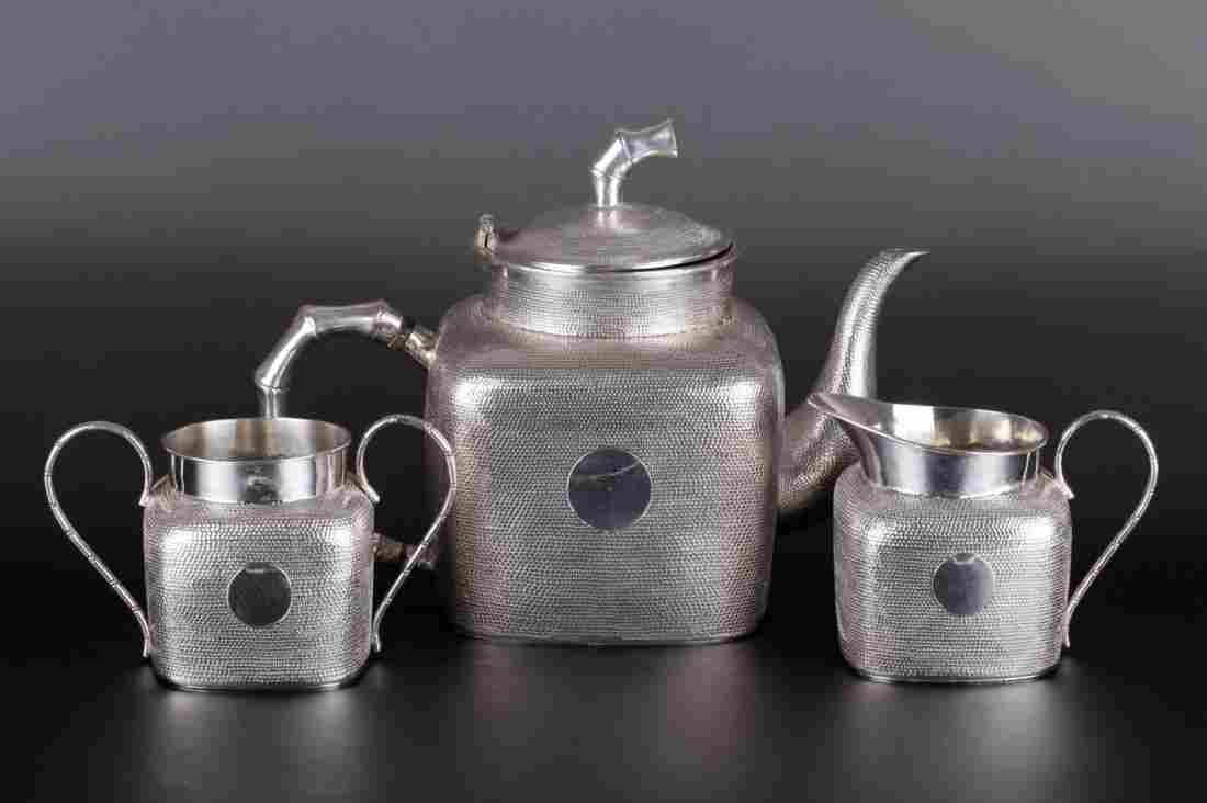3 Pieces Set Chinese Sterling Silver Tea Set