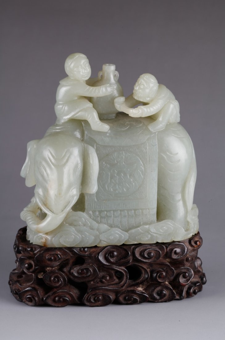 Chinese Celadon Jade Carved Two Men & Elephant