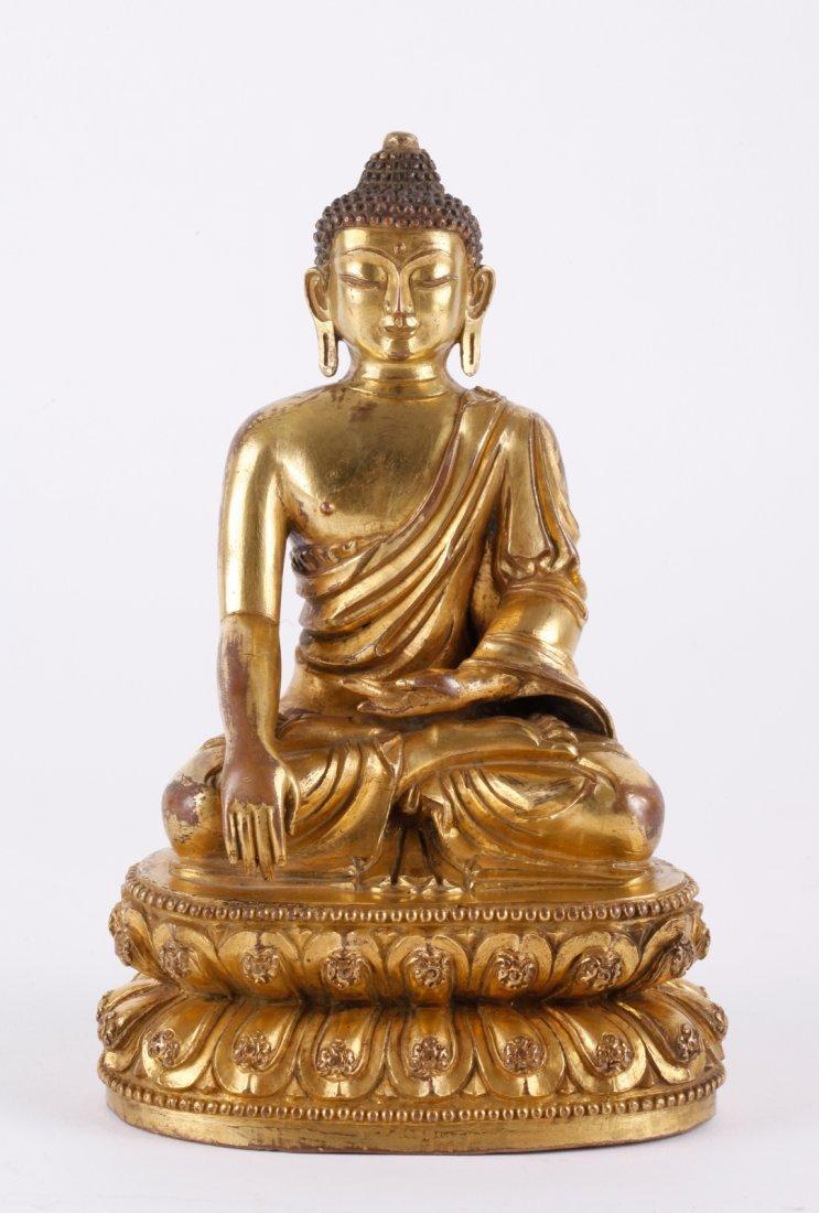 16th C. Tibetan Gilt Bronze Sakyamuni
