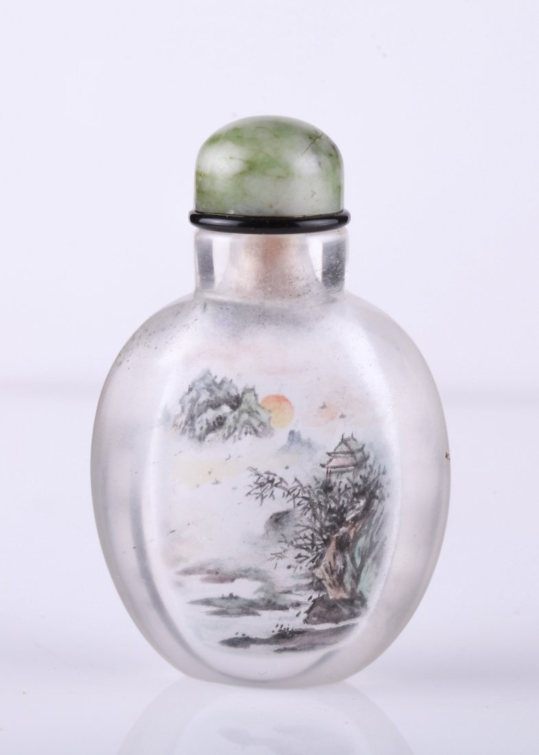 19/20th C. Inside Painted Glass Snuff Bottle