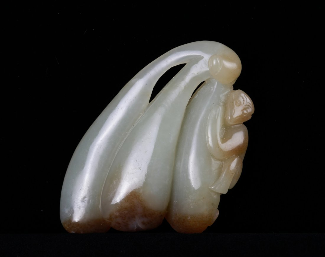 19th C. Chinese Jade Carved Monkey on Leaf