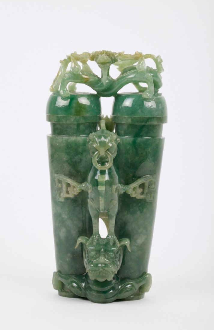 Chinese Jadeite Carved Double Vases, w/ Dragon Top