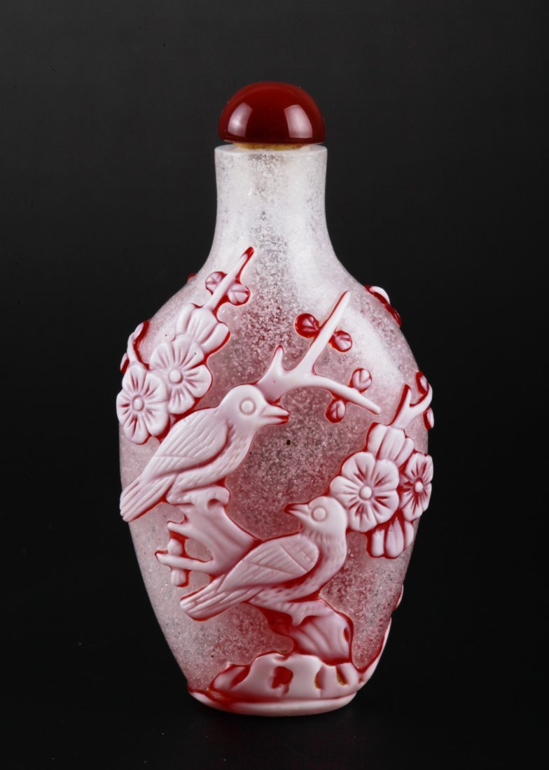 Chinese Red & White Overlay Glass Snuff Bottle
