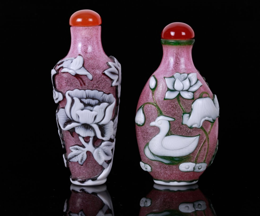 Two Chinese White Overlay Pink Glass Snuff Bottles