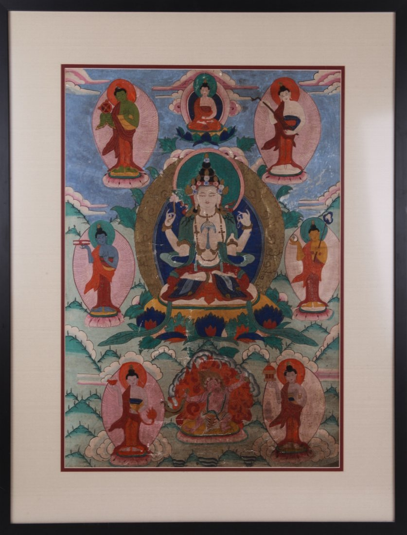 Tibetan Painted Thangka with Frame