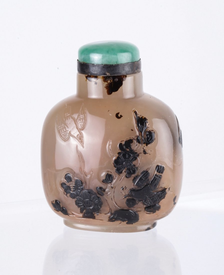 19th C. Chinese Agate Snuff Bottle w/ Jadeite Top