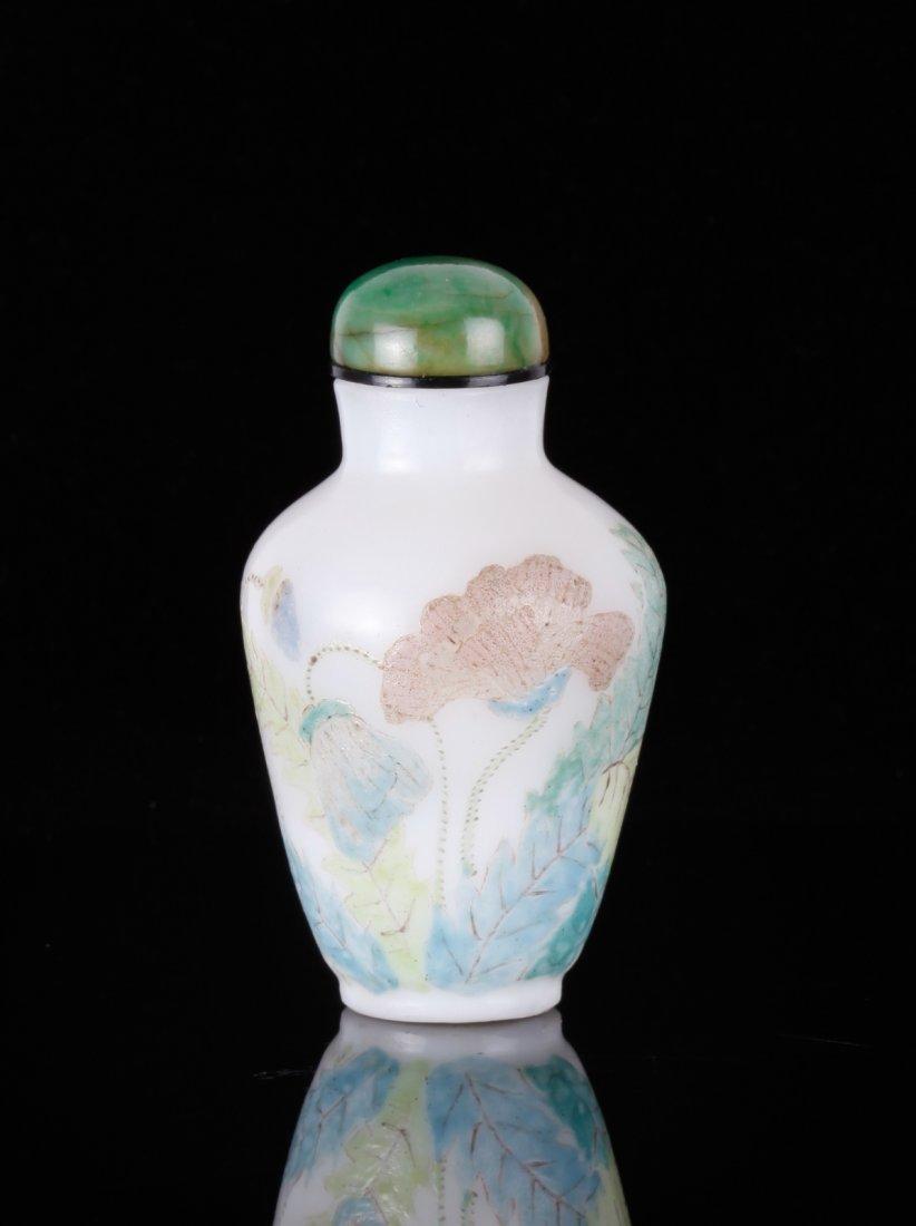 18/19th C. CH Enamel Painted Glass Snuff Bottle