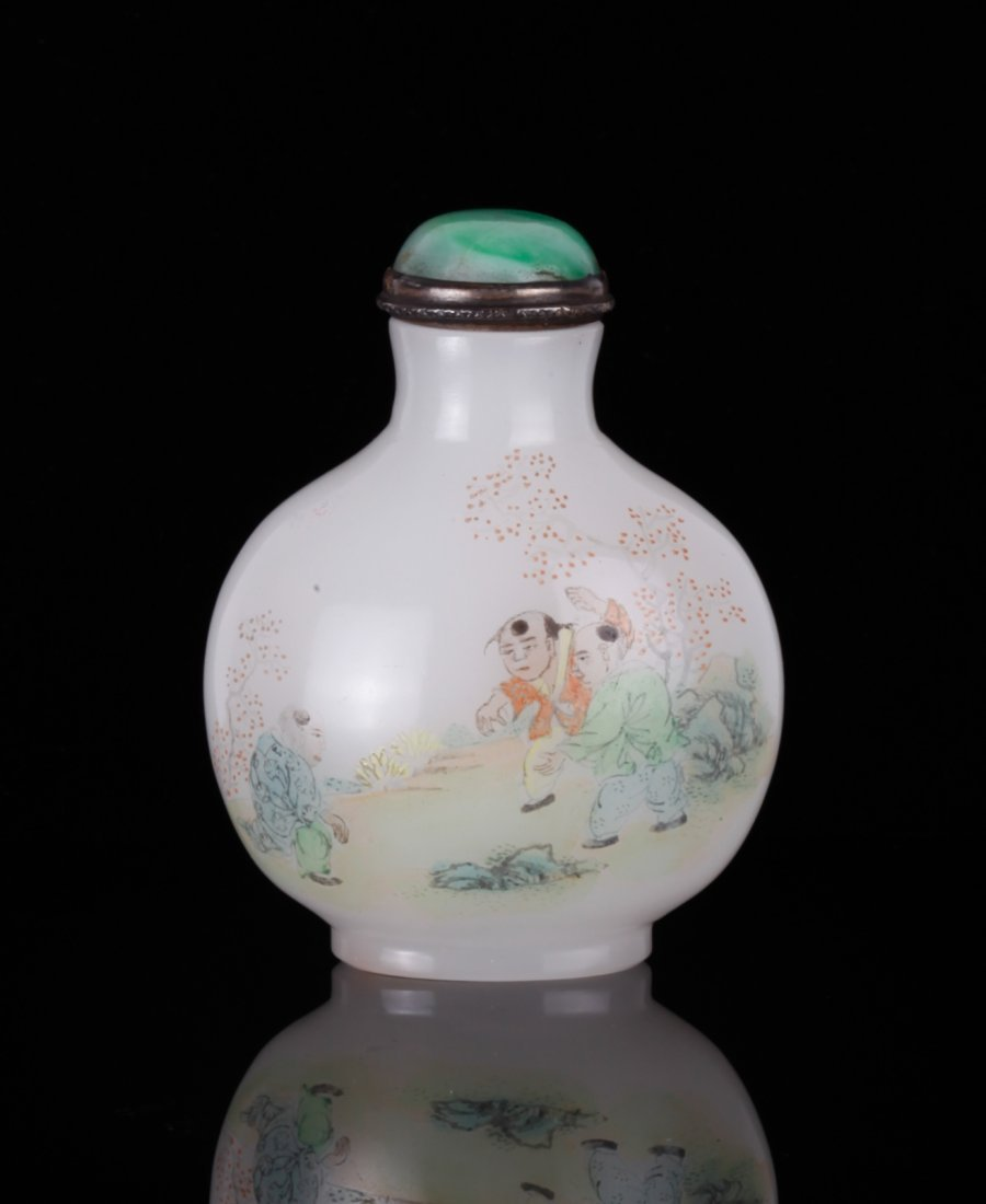 19th C. Chinese Enamel Painted Glass Snuff Bottle
